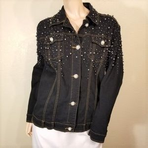Quacker Factory Medium Denim Bead Button Jacket